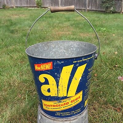 Vintage ALL Laundry Detergent Bucket Galvanized Metal Pail Soap Wood Handle Blue