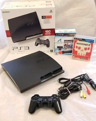 PLAYSTATION 3 160GB SLIM SYSTEM w/ move controller pack PS3 CECH-2501A or 3001A