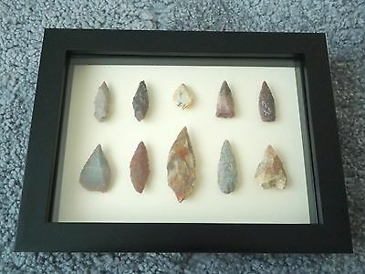 Neolithic Arrowheads in 3D Picture Frame, Authentic Artifacts 4000BC (0435)