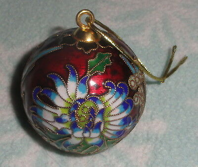 "Cloisonne Holiday Flower 2"" Christmas Ball Ornament"