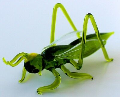 "Geen Yellow Grasshopper Figurine Blown Glass ""Murano"" Art Animal Miniature"
