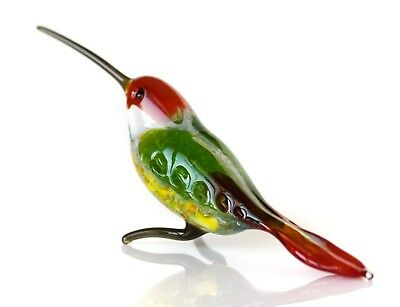 "Red Green Hummingbird Figurine Blown Glass ""Murano"" Art Animal Bird Miniature"