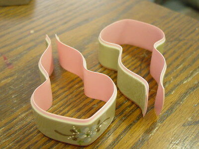 """Pair Vintage Baby Blanket Celluloid Clips Hand Painted 3 1/2"""" long"""