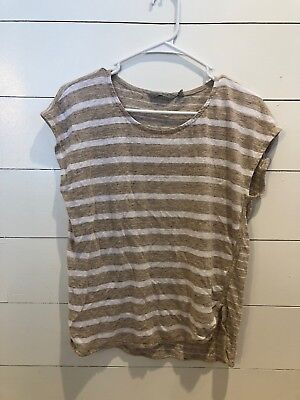 b5441e65c50f2 Athleta 100% Linen Cap Sleeve Crop Top Shirt Blouse M Medium Beige White  Striped