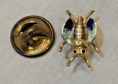 Vintage 14K Yellow Gold & Enamel Open Wings Scarab Beetle Pin Tie Tack