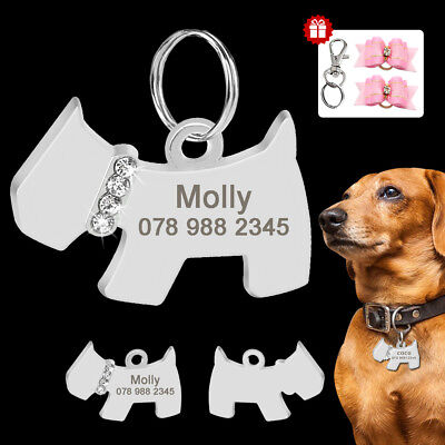 Personalized Dog Tags Name ID Collar Tag Stainless Steel Bling with 2 Hair Bows