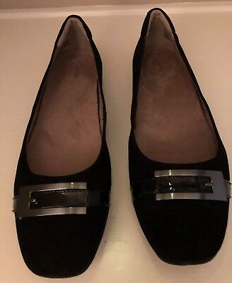 ec46f4af059 New Clarks Women s Candra Glare Ballet Flat Black Suede Leather 9.5Ml
