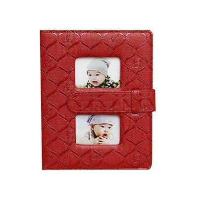 "DIY Scrapbook Centerfold Photo Album Red 100 Photos 5*7 "" Storage Book Holder"