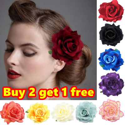 Large Rose Flower Hair Clip Bridal Hairpin Brooch Wedding Accessory Bridesmaid
