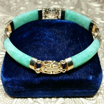 "Vintage Chinese 14k Solid Yellow Gold Green Jade Panel Link 7.5"" Bracelet 18.8 g"