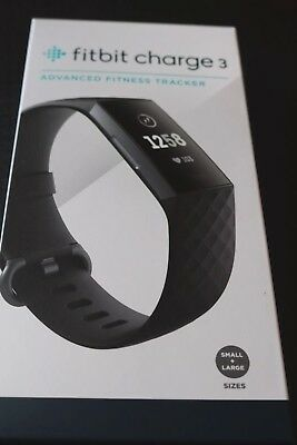 FITBIT Charge 3 Black fitness smart watch New tracker
