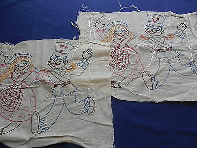 Vintage Marionette Puppet Embroidered Panels for Pillow, Wall Hanging, Quilt