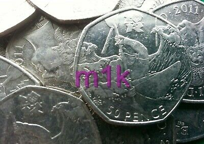 Olympic 50p. London 2012. CANOEING. Canooing. Fifty pence. Circulated.