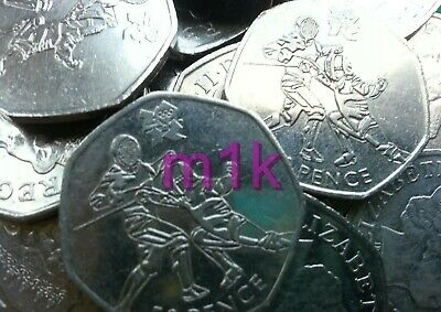 Olympic 50p London 2012 FENCING Sword Fighting Picket Fifty pence Circulated