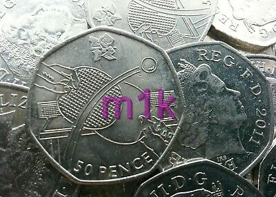 Olympic 50p. London 2012. TABLE TENNIS. Fifty pence. Circulated.
