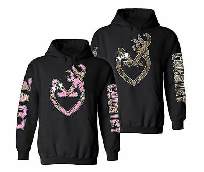 8e50c7c03fc8a BUCK AND DOE Camo Deer Love Country Couple matching funny cute Hood Pull  Over
