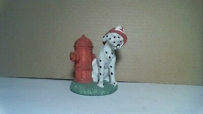 FIREMAN DOG STATUE DALMATIAN WITH FIRE HYDRANT - VINTAGE by YOUNG'S - MINT