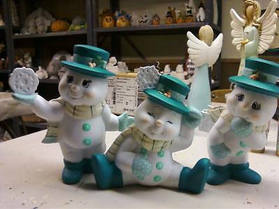 Set Of (3) Ceramic Bisque Hand-Painted Snowman With Snowflake Figurines