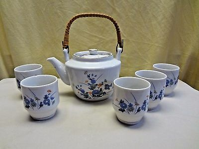 6pc. Vintage OMC Japan Porcelain Floral Tea Pot & Stack-able Cup Set