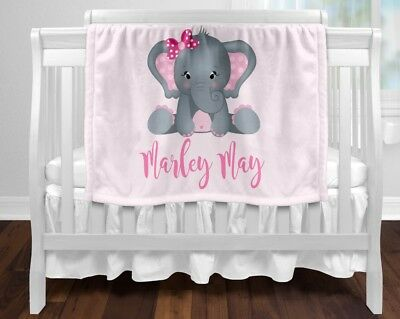 Personalised Baby Blanket Fleece Newborn Gift  Keepsake Shower Pink Elephant