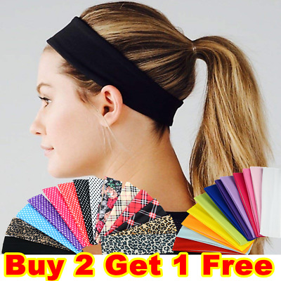 Gym Sports Yoga Headband Stretchy Alice Band Kylie Hair Band Girls Ladies Plain