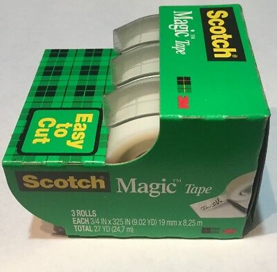 "Scotch Magic Tape 3 Rolls/Pk 3/4"" x 325"" 27 YD Gift Wrap"