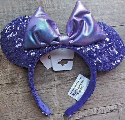 NWT Disney Parks Purple Potion Iridescent Bow Sequin Minnie Ears Headband ADULT