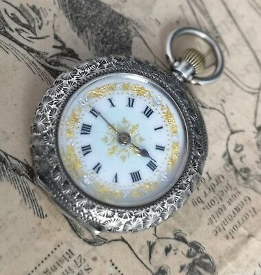 Antique silver fob watch, ladies sterling and enamel pocket watch