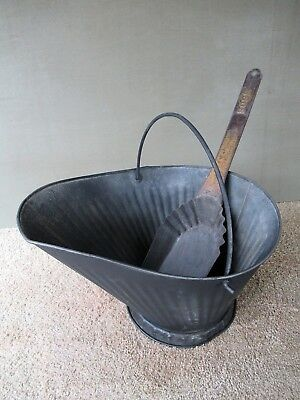 Antique Coal Scuttle Hod Bucket Vintage Primitive Metal, BOSS Ash Shovel