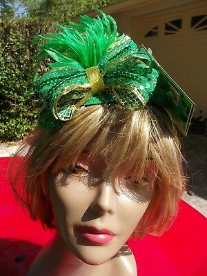St. Patrick Day Feather & Sequin  Bow Headband Hat St. Patrick Day Costume