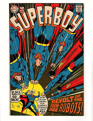 "Superboy #155 (1969, DC) FN- Neal Adams Cover ""Revolt of the Teenage Robots!"""