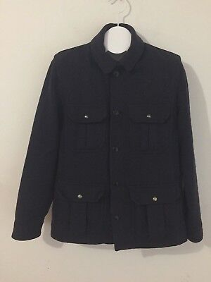 J.CREW Sporting Goods Irvine Jacket Navy Blue Tweed Military Field Coat Size M