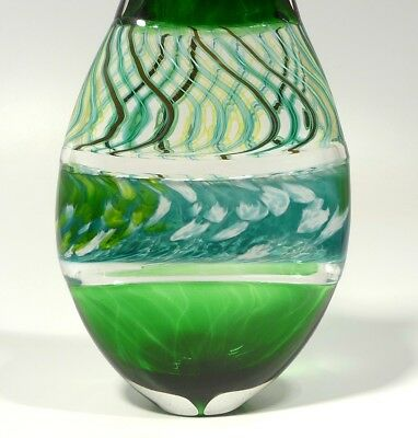 Hand Blown Glass Art Sculpture, Dirwood Glass, Complex Incalmo And Cane, Green