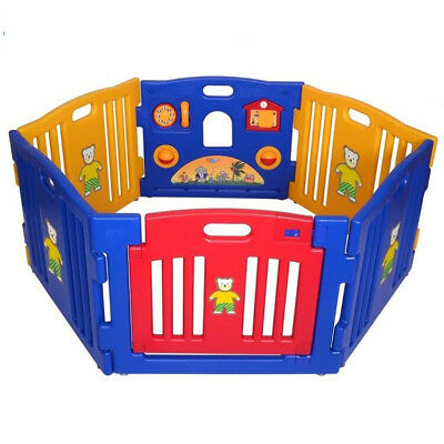 6 Panels Plastic Baby Playpen Safety non-toxic Foldable Indoor Outdoor Portable