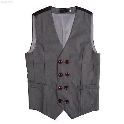 1FFF Mens Double breasted Button V Neck Suit Tuxedo Dress Vest Waistcoat Grey XL
