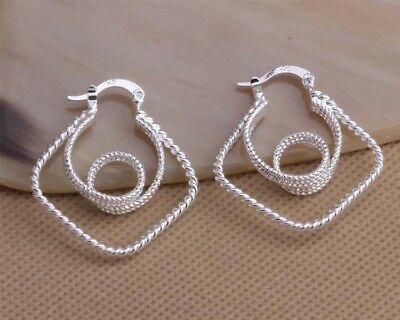 Womens 925 Sterling Silver Elegant Diamond-Cut 30mm Vogue Hoop Earrings #E290