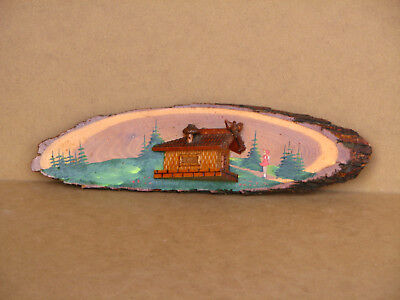 Old Antique vintage Wooden Wall Hanging Wall Hanger 3D Decor with Tag 60s