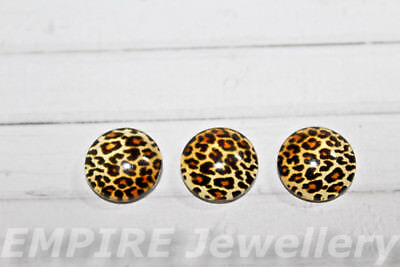 2 x Leopard Print Pattern 12x12mm Glass Dome Cabochon Cameo Animal