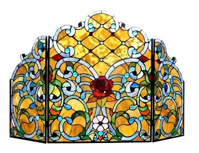 Rose Flower Design Stained Glass Fireplace Screen Tiffany Style