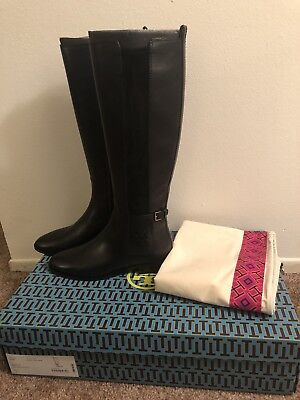 e811dff2c176 Tory Burch Wyatt Leather Riding Boot Flat Equestrian Stretch Booties 8 Tall  New