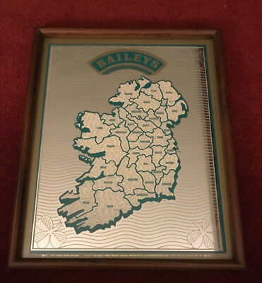 Vtg 1989 Bailey's Original Irish Cream Irish Name Map Mirror Bar Tavern Picture