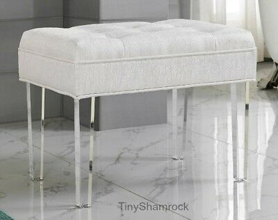 Glamorous Vanity Stool Upholstered Bench Pearl White Cushioned Bed