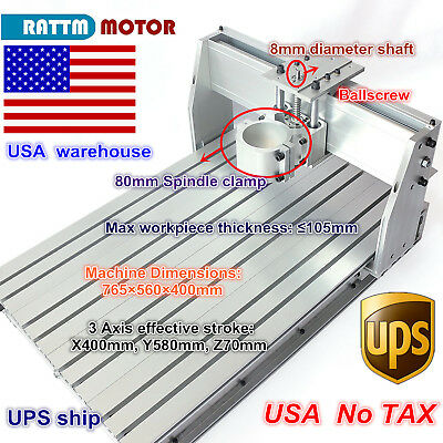 【US Stock】 Desktop 6040 CNC Router Milling Engraving Machine Frame & 80mm clamp