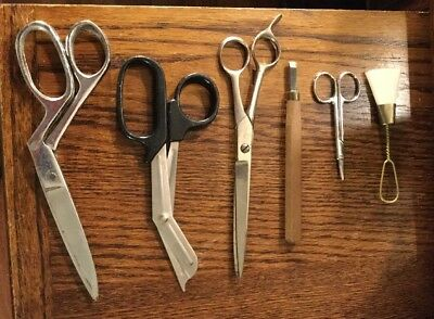 Vintage Lot Of 6 Assorted Small Sewing Scissors And Craft Tools