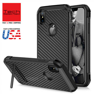 Hybrid Rugged Shockproof Kickstand Carbon Fiber Protective Case Fits iPhone