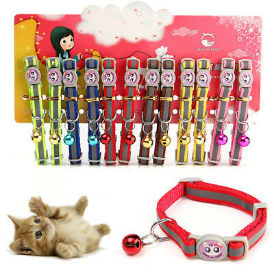 12Pcs/Lot Pet Cat Safety  with Bell Reflective Breakaway Kitten Dog
