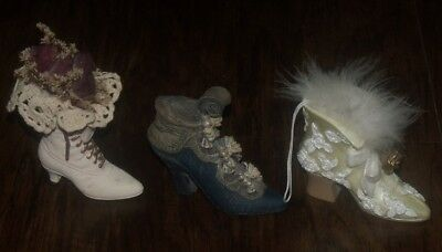Vtg Victorian Lady High Heel Boot Shoe Lace Figurine Christmas Ornament Set Lot