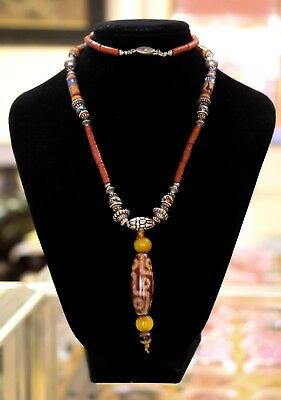 Certified Top Quality Ancient Tibetan Buddhist 9 Eye Dzi Bead Necklace 九眼天珠和南红玛瑙