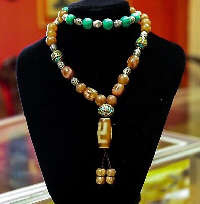 Certified Top Quality Ancient Tibetan Buddhism Swastika Dzi Bead Necklace 红玛瑙天珠