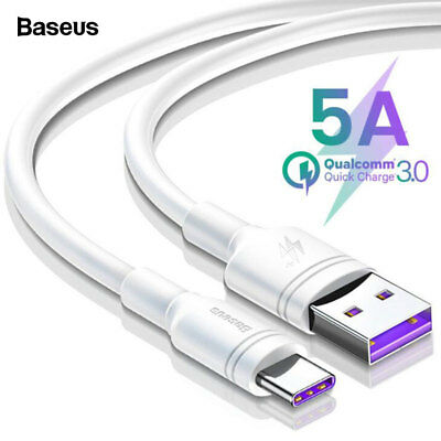 Baseus 2M TPE Type C USB-C Quick Charge QC 3.0 5A Fast Charging Data Sync Cable